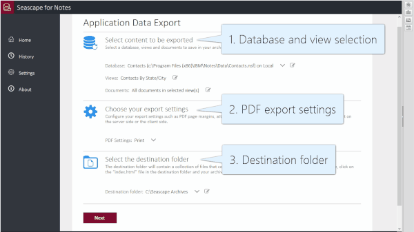 Lotus Notes application data export