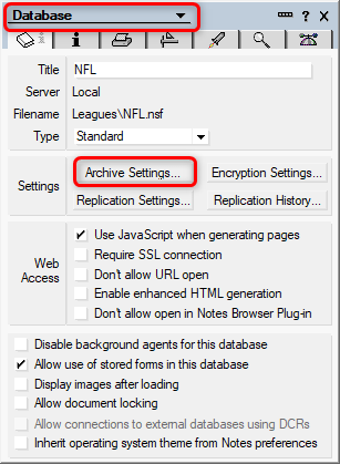 Lotus Notes Database / Archive Settings